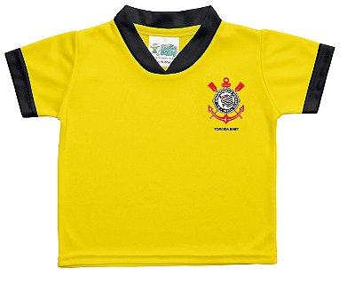 Camiseta Bebê Corinthians Amarela Torcida Baby