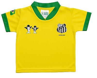 Camiseta Bebê Santos Amarela Torcida Baby