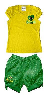Conjunto Bebê Brasil Verde Amarelo - Torcida Baby