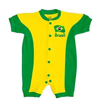 Macacão Bebê Brasil Verde Amarelo Curto - Torcida Baby