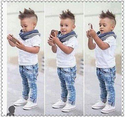 Conjunto Infantil Casual Cachecol Camisa e Calça Jeans
