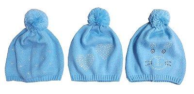 Kit Gorros Bebê Azul Strass 3 Peças