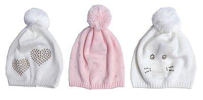 Kit Gorros Bebê Branco e Rosa Strass 3 Peças