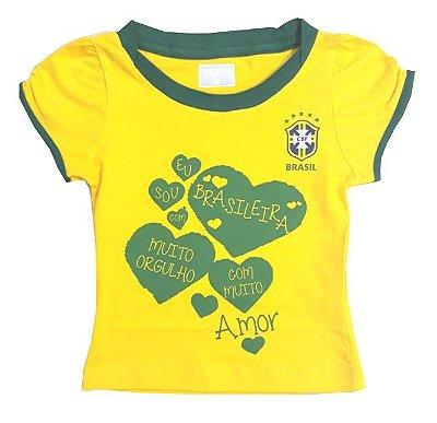 Camiseta Brasil Infantil Sou Brasileira Revedor