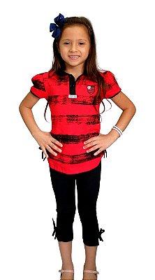 Conjunto Infantil Flamengo Polo e Legging Oficial