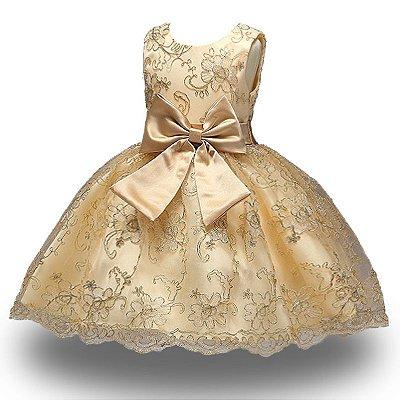 Vestido Infantil Festa Casamento Florista Dourado