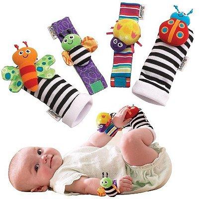 Kit Interativo Bebê Meias e Pulseiras Divertidas Lamaze 4 Pçs