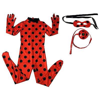 Fantasia Ladybug Infantil Miraculous Com Máscara