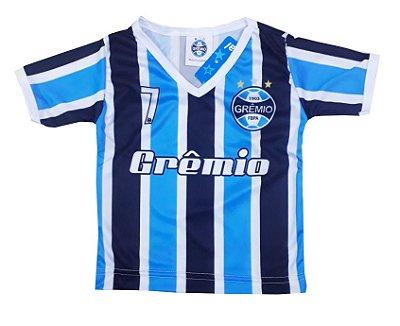 Camiseta Infantil Grêmio Listrada Dry Gola V Oficial