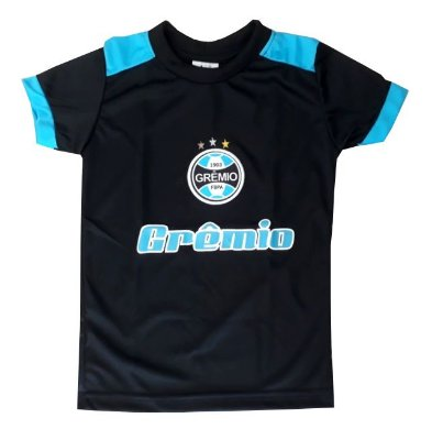 Camiseta Infantil Grêmio Passeio Preta Oficial