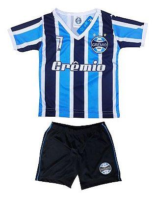 Conjunto Bebê Grêmio Dry Gola V Listras Oficial