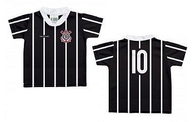 Camiseta Bebê Corinthians Listras Preta - Torcida Baby