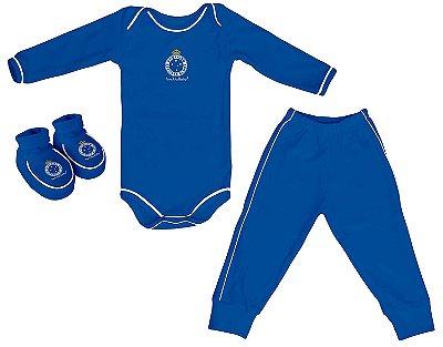 Kit Bebê Cruzeiro 3 Peças Longo Azul - Torcida Baby