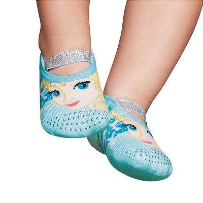 Meia Sapatilha Bebê Elsa Frozen Azul Puket (15 ao 18)