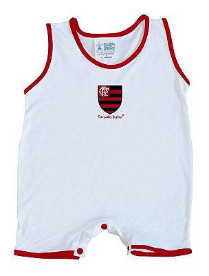 Macacão Bebê Flamengo Regata Branco - Torcida Baby
