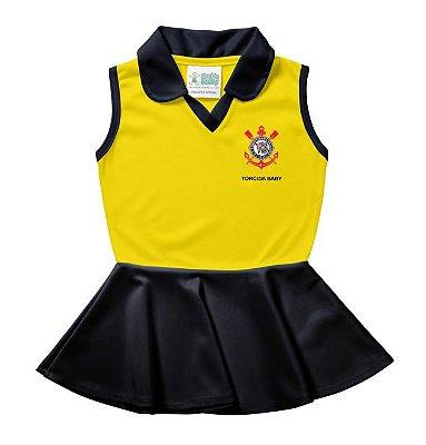 Vestido Polo Bebê Corinthians Amarelo - Torcida Baby