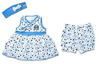 Vestido Infantil Grêmio com Shorts e Tiara Oficial