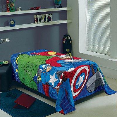 Manta Fleece Infantil Avengers 1,50m x 2,00m com 1 Peça
