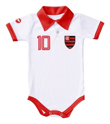 Body Flamengo Polo Branco Torcida Baby