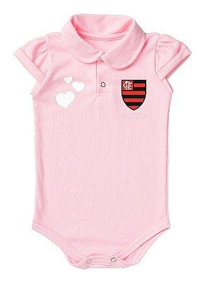 Body Flamengo Polo Rosa Torcida Baby
