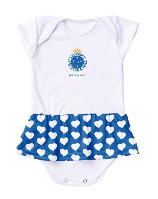 Body Vestido Cruzeiro Corações Torcida Baby