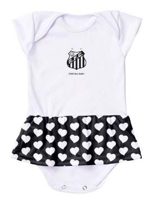 Body Vestido Santos Corações Torcida Baby