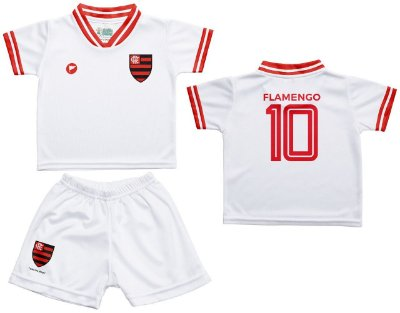 Conjunto Flamengo Uniforme Infantil Branco - Torcida Baby