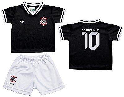 Conjunto Bebê Corinthians Uniforme Preto - Torcida Baby
