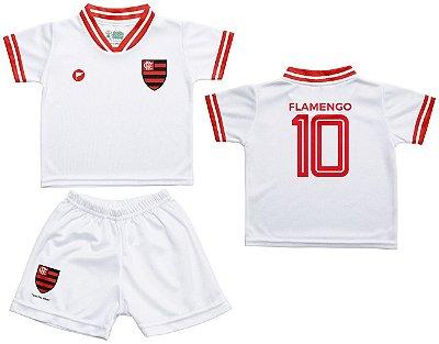 Conjunto Bebê Flamengo Uniforme Branco - Torcida Baby