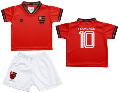 Conjunto Bebê Flamengo Uniforme Vermelho - Torcida Baby