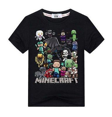 Camiseta Infantil Minecraft Preta