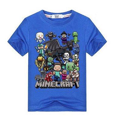 Camiseta Infantil Minecraft Azul