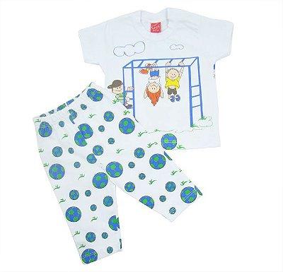 Conjunto Bebê Azul Manga Curta Get Baby