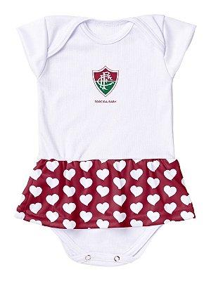 Body Vestido Fluminense Corações Torcida Baby