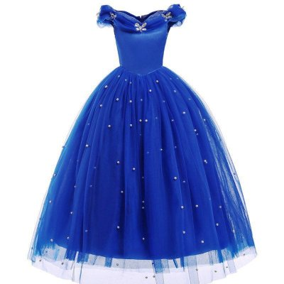 Vestido Fantasia Infantil Cinderela Azul Escuro Luxo