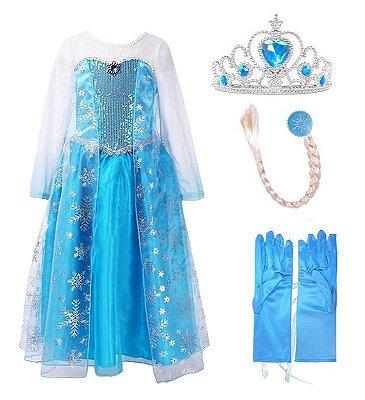 Kit Infantil Vestido Elsa Frozen 4 Peças