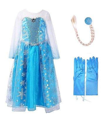 Kit Infantil Vestido Elsa Frozen 3 Peças