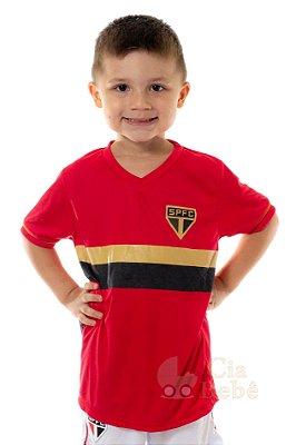 Camiseta Infantil São Paulo Estampa Dourada Oficial