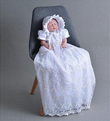 Vestido Batizado Mandrião Luxo Com Gorro