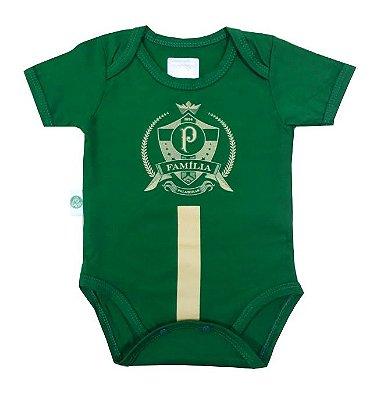Body Bebê Palmeiras Estampa Dourada Oficial