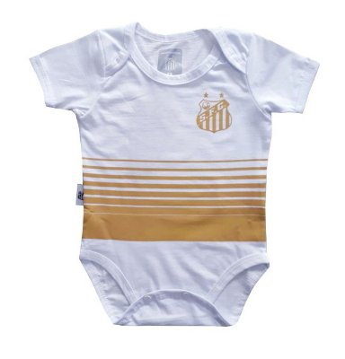 Body Bebê Santos Estampa Dourada Oficial