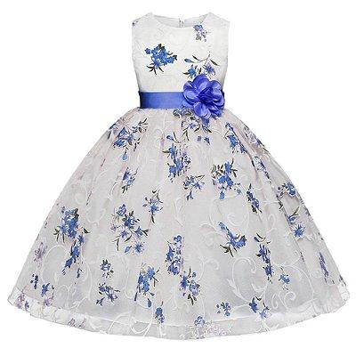 Vestido Infantil Festa Florido Branco Lilás