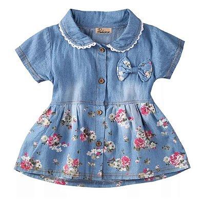 Vestido Bebê Jeans Florido