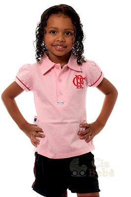 Camisa Polo Infantil Flamengo Rosa Oficial