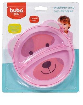 Pratinho Bebê Com Divisória Ursinho Rosa - Buba