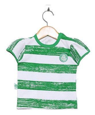 Camiseta Infantil Palmeiras Listras Feminina Oficial