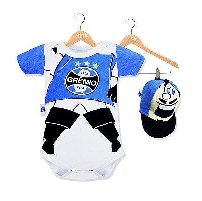 Body Bebê Grêmio Mascote com Boné Oficial