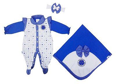 Kit Maternidade Cruzeiro Corações Com Manta Oficial