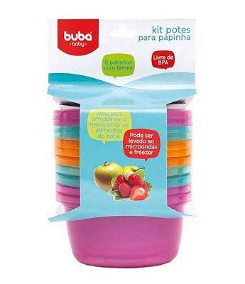 Kit 6 Potinhos Para Papinha Bebê Rosa - Buba