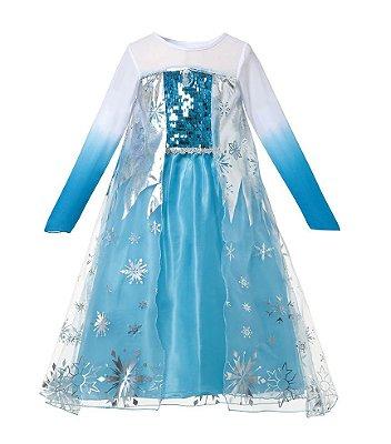 Vestido Fantasia Infantil Elsa Frozen Degradê